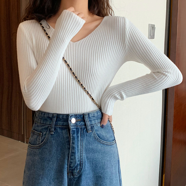 2021 Basic B-neck Solid Autumn Winter Pullover Women Female Knitted Ribbed Sweater Slim Long Sleeve Badycon High Quality Sweater 3
