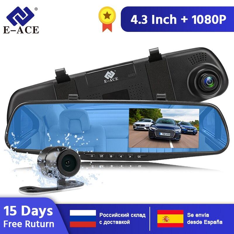 E-ACE voiture Dvr miroir FHD 1080P Dash caméra 4.3 pouces DVRs avec caméra de recul enregistreur vidéo caméscope Auto registraire Dashcam