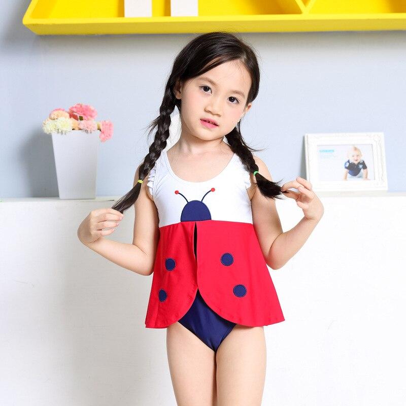 Wholesale Korean-style Chinlon GIRL'S Swimsuit Cute Cartoon Beetle KID'S Swimwear Women's One-piece With Cap Tour Bathing Suit