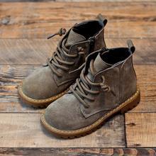 Натуральная кожа детские Ботинки Martin для мальчиков теплые сапожки Водонепроницаемый Обувь на теплом меху детские полуботинки для маленьких мальчиков зимние кроссовки