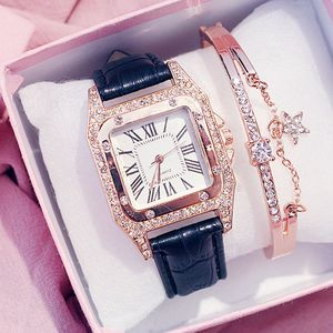 Freeshipping 2020 Hot Sale Ladies Watches Luxury Diamond Square Women Watches Bracelet Set Leather Band Quartz Wristwatches Sale