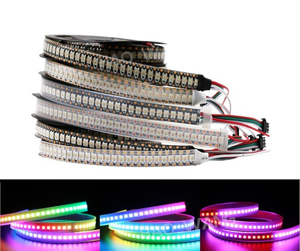 <font><b>DC5V</b></font> <font><b>WS2812b</b></font> led strip light individually addressable pixels smart RGB led light tape ribbon 30/60/144,1m/5m, IP30/IP65/IP67 image