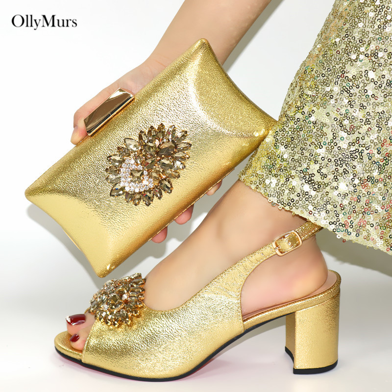 Classics Italian Woman Stone Gold Color Shoes And Bag Set Italian Summer High Heels Shoes And Purse Set For Wedding