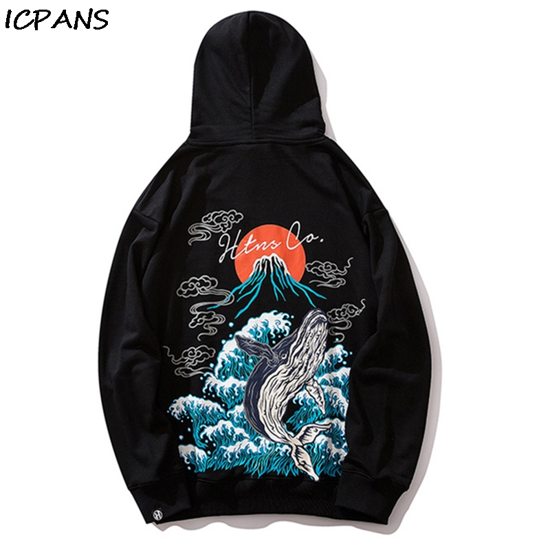 ICPANS 2019 Winter Japan Style Hip Hop Casual Sweatshirts Streetwear Japanese Embroidery Funny Printed Fleece Hoodies