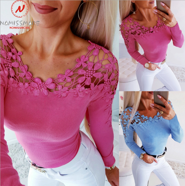 Women Long Sleeve T-Shirts Patchwork Hollow Out Design Lace Decor See Through O-Neck Solid Top Elegant Lady Autumn Slim Shirts