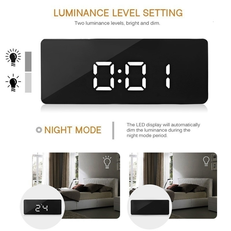 Battery Operated Digital Mirror Alarm Clock with LED Display Used as Night Lights including Temperature Display and Snooze Function 10