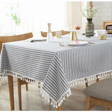 Blue Striped Tablecloth Decorative Cloth Linen Cotton Household Dustproof Table Cover Washable Tassel Iace Rectangle