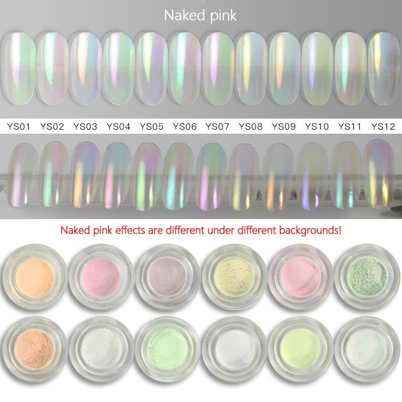 12 Colors Mermaid Nail Glitter Powder Nail Shine Magic Mirror Powder Pearl Shell Powder Dust Pretty Nail Art Decorations TSLM1