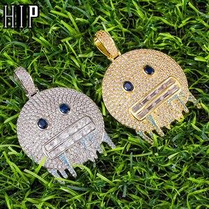 Hip Hop Iced Out Bling Rapper Cubic Zirconia Smiling Face Baguette Necklaces & Pendants For Men Rapper Jewelry