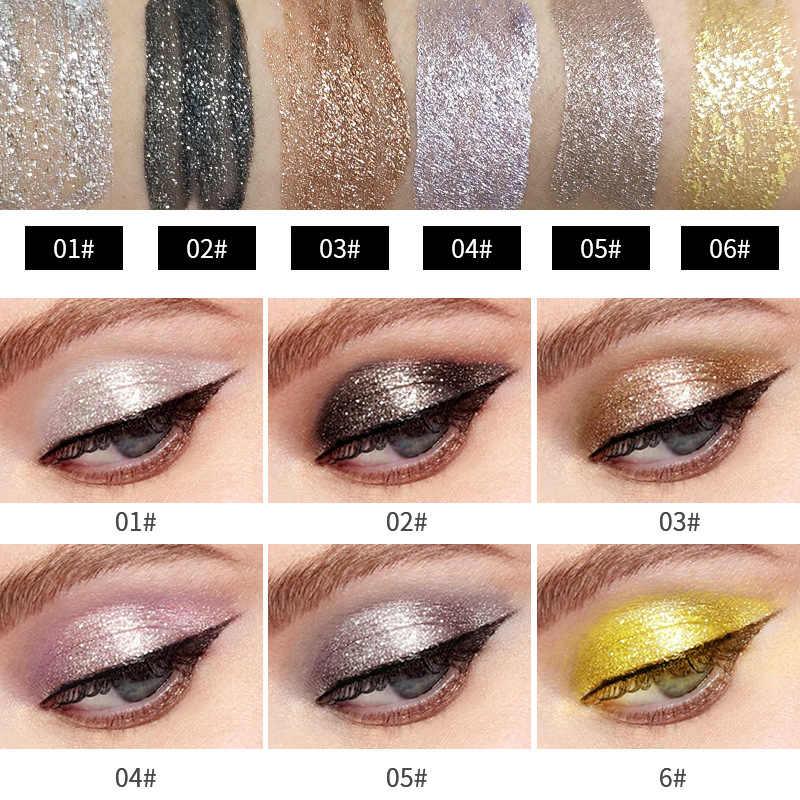 6 uds Yanqina diamante líquido sombra de ojos cosméticos juegos de maquillaje brillo sombra de ojos de larga duración pigmento metálico Kit de maquillaje