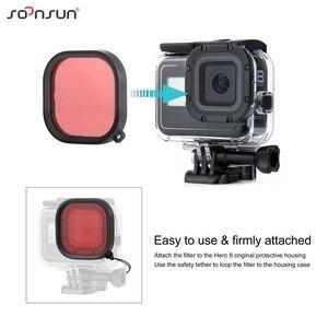 Image 3 - SOONSUN 3 Pack Filter Kit Rot Magenta Schnorchel Objektiv Tauchen Filter für GoPro Hero 8 Schwarz Wasserdichte Schutz Gehäuse filter