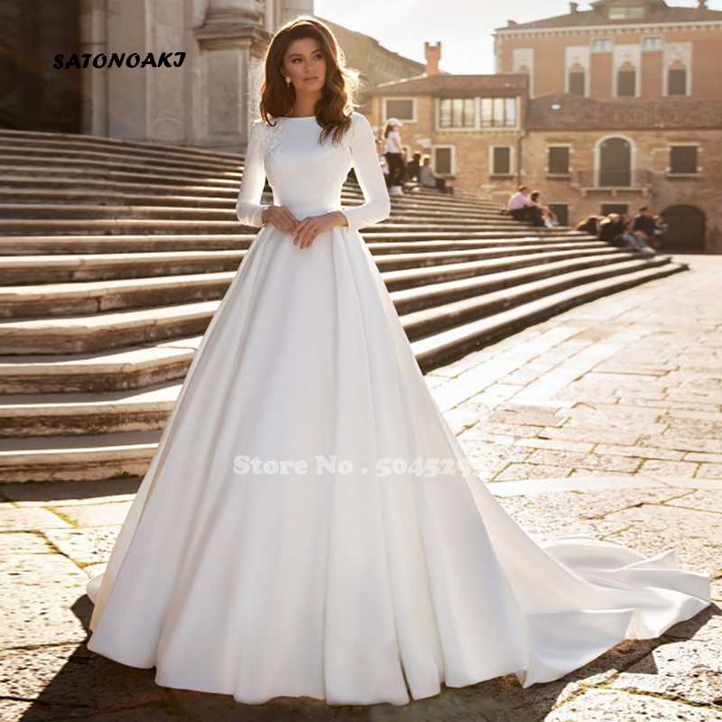 SATONOAKI  A-line Wedding Dress Ivory Satin Wedding Gowns Elegant Long Sleeve Bride Dress Abito Da Sposa 2019