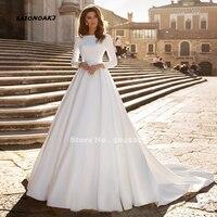 SATONOAKI A line Wedding Dress Ivory Satin Wedding Gowns Elegant Long Sleeve Bride Dress Abito Da Sposa 2019