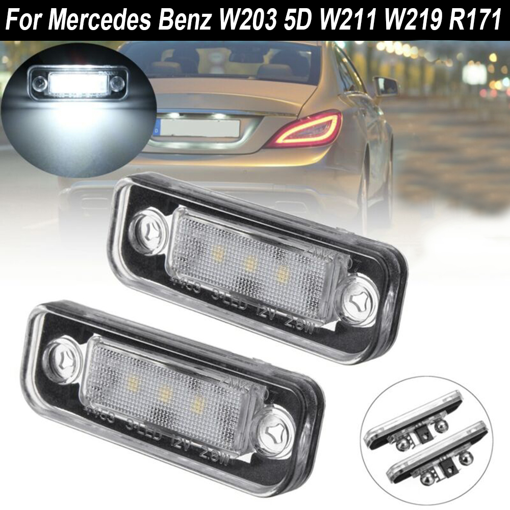 2 pièces voiture lumière LED plaque d'immatriculation lumière 12V pour mercedes-benz C/E classe CLS SLK W203 W211 W219 R171 remplacement Plug And Play