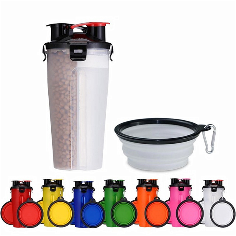 2 In 1 Pet Travel Water Bottle Foldable Dog Feed Bowl Drink Cup Food Container Silicone Outdoor Portable Dog Cat Feeder