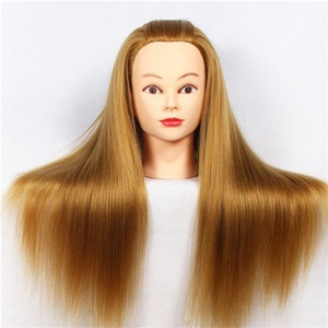 CAMMITEVER 20 inch Hair Styling Mannequin Head Blonde Hair Long Hair Hairstyle Hairdressing Training Doll Female Mannequins