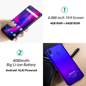 """Image 4 - Blackview A60 Plus 4G Lte 4080Mah Smartphone 6.088 """"Waterdrop Screen Mobiele Telefoon 4Gb Ram Android 10 8MP + 5MP Camera Cellphone"""