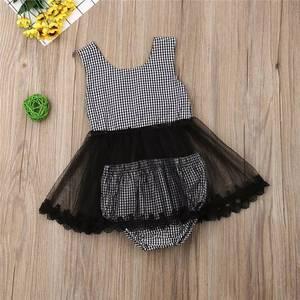 Image 3 - 2020 ins Baby Girls Princess Black Color Bow Plaid Clothes Set Top And PP Pants Wholesale