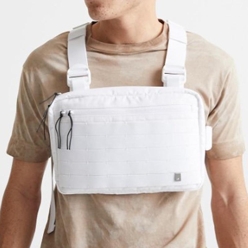 Bolsa de Peito Branco para Homens Equipamento de Peito Bolsas de Moda Pacote de Peito Streetwear Hip-hop Colete Tático Cinta Bolsa Packs Feminino Quadrado Pequeno