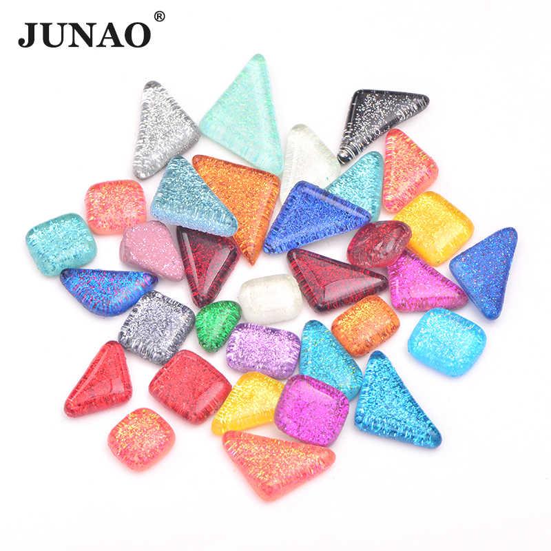 JUNAO, mezcla de colores, azulejos de mosaico de vidrio, piedras de mosaico, guijarros de cristal para niños, Material de artesanía, mosaico DIY, fabricación de 20 piezas