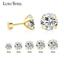 LUXUSTEEL 1pairs Sale Safety Pin Earrings Stainless Steel Round CZ Stud Earring Fashion Jewelry Brinco Baby Girl Christmas