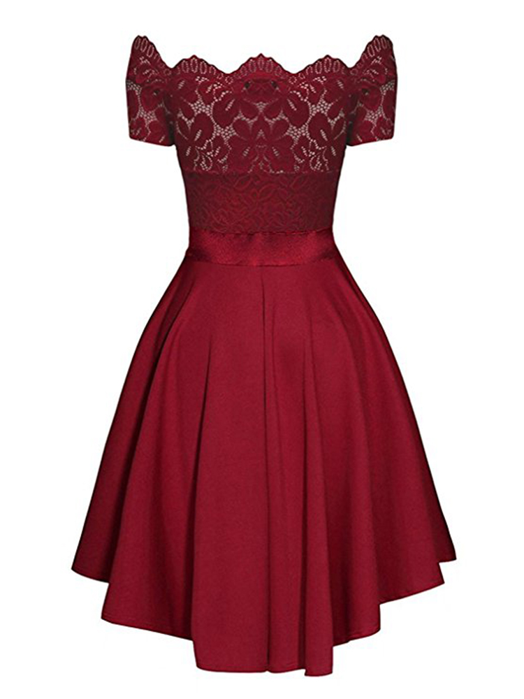 He002814bca85439292236c049cc5d7ccX - Elegant Red Lace dress Women Patchwork Slash Neck Short Sleeve Sashes Tunic Dress Summer Ladies Sexy Evening Party Dresses