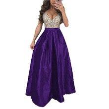 2019 Sequin Floor-Length Party Dress V Neck A Line Dresses Woman Night