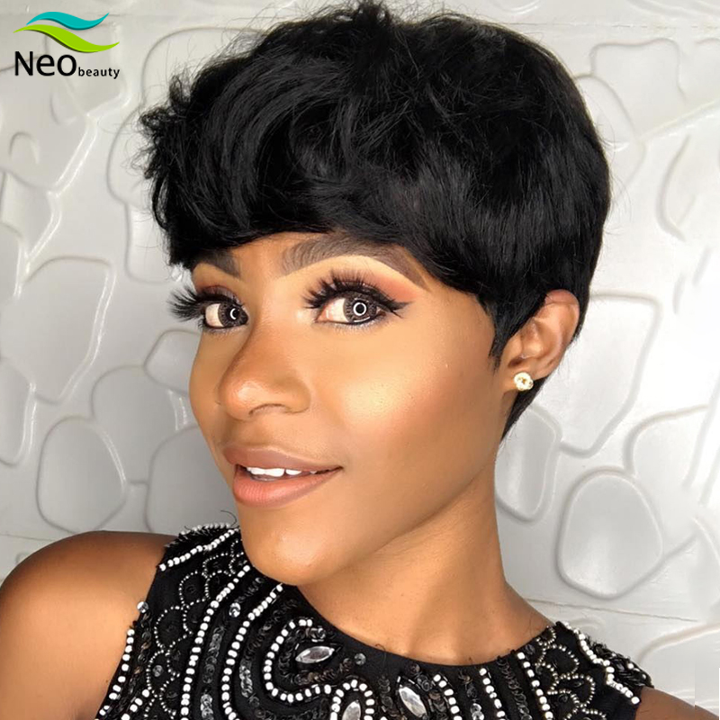 Cheap Wigs Full Machine Natural Wavy Woman Wig Nice Short Human Hair Wigs #1B Color Pixie Cut Bob Wigs Suitable For Summer