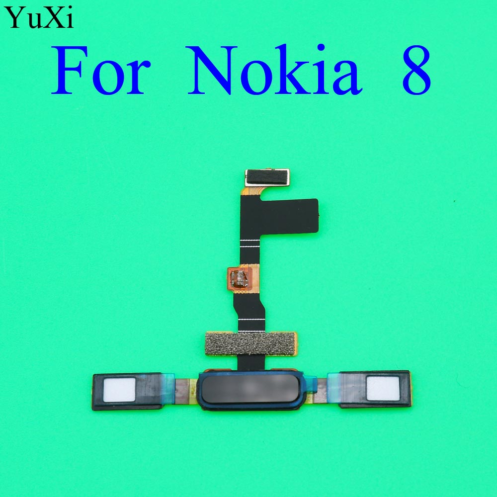 YuXi Finger Print Sensor For Nokia 8 TA1004 TA1052 TA-1004 TA-1052 Home Button Fingerprint Menu Return Key Sensor Flex Cable