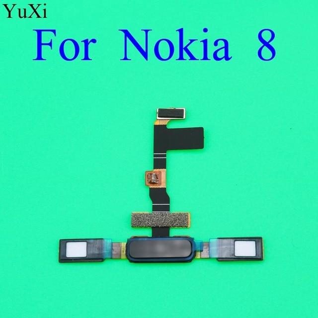 YuXi Finger Print Sensor for Nokia 8 TA1004 TA1052 TA 1004 TA 1052 Home Button Fingerprint Menu Return Key Sensor Flex Cable