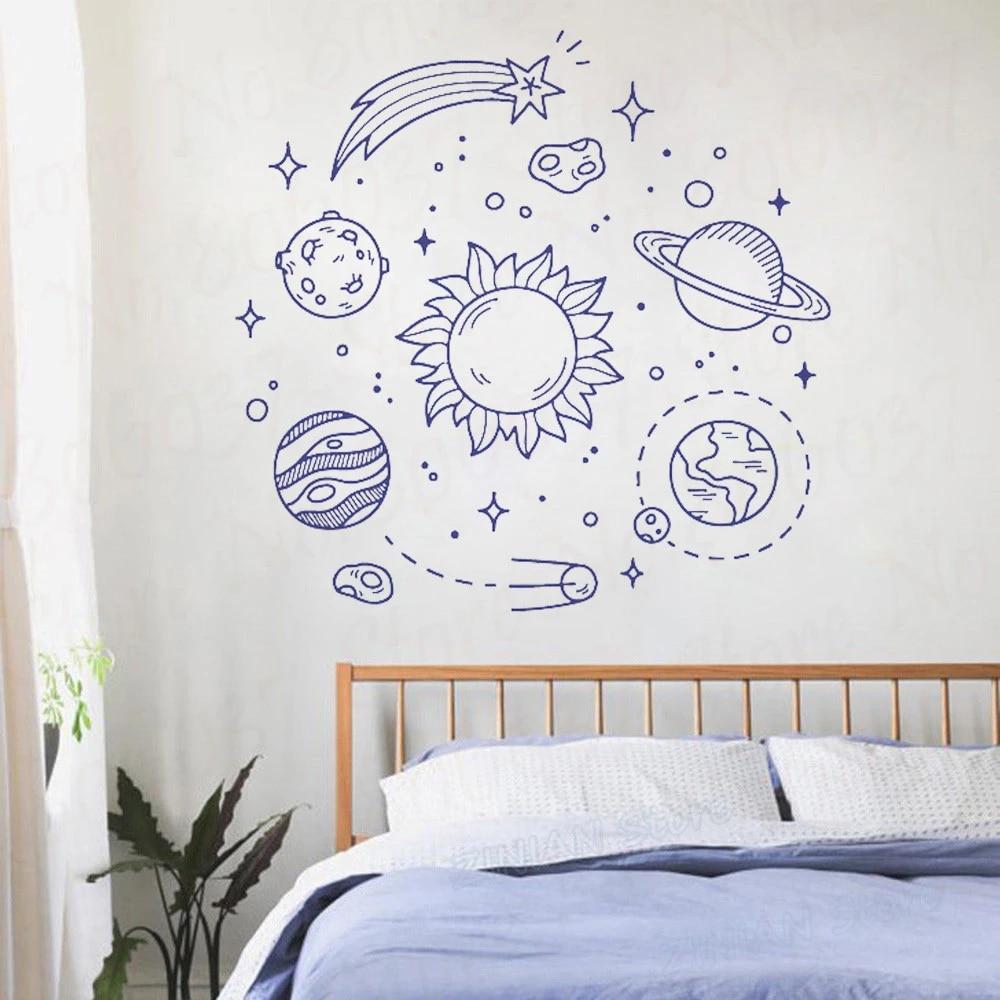 Ruimte Zonnestelsel Planeten Sterren Satellieten Muur Kamer Decoratie Vinyl Muurschilderingen Muurtattoo Sticker Voor Slaapkamer Kinderkamer Wl1587 Wall Stickers Aliexpress