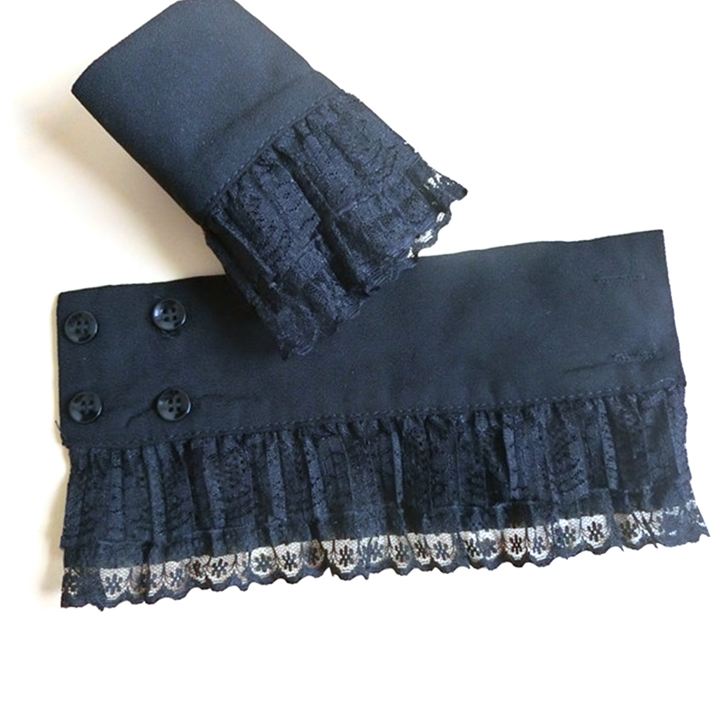 2Pcs/Pair Women Girls Decorative Chiffon Fake Flare Sleeves Floral Lace Pleated Ruched False Cuffs Apparel Wrist Fake Cuffs