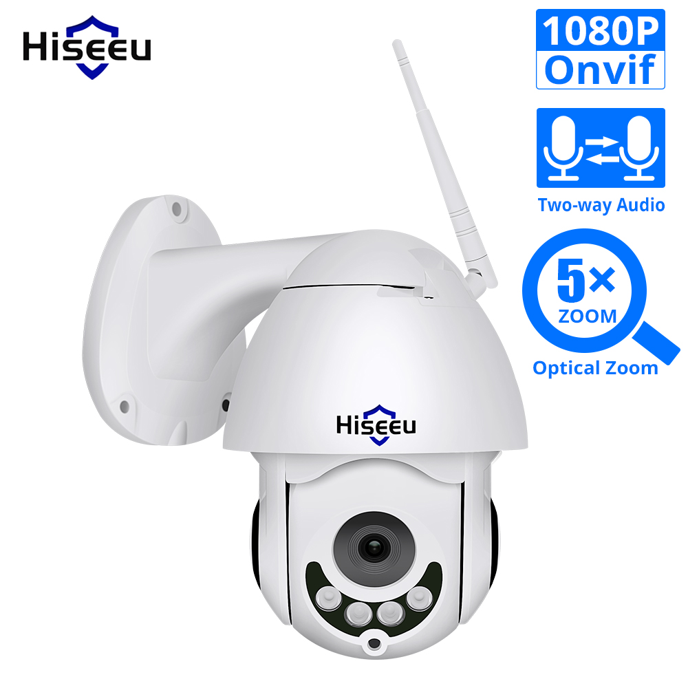 1080P WIFI IP Camera PTZ 5X Optical Zoom Speed Dome ONVIF CCTV Outdoor Waterproof 2MP Two Way Audio Camera Hiseeu-in Surveillance Cameras from Security & Protection