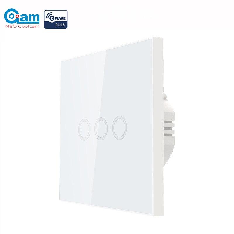 NEO COOLCAM 3 3CH-onda Z Além de Parede Interruptor de Luz Uma Gangue Toque Interruptor de Parede de Luz de Automação Residencial Controle UE 868.4MHZ