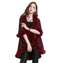 6 Colors 2019 Winter Plus Size Velvet Women 2 Layers Cardigan Imitation Fox Fur Cape Wedding Shawl Fashion Knitted Poncho