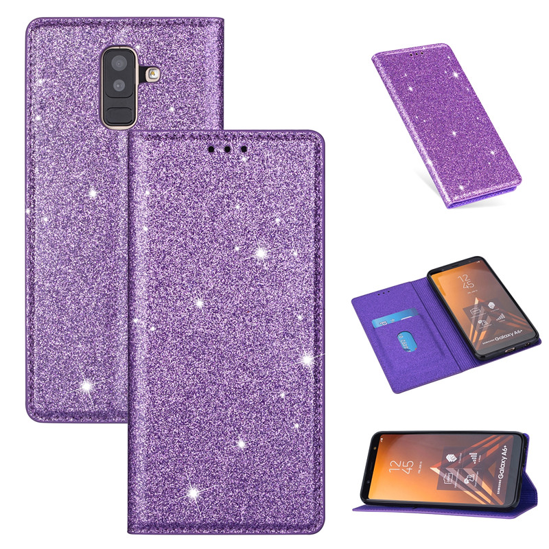For <font><b>Samsung</b></font> Galaxy A7 A8 J8 A6 J4 J6Plus 2018 EU Luxury Glitter Wallet <font><b>Flip</b></font> Leather Silicon <font><b>Case</b></font> For J3 <font><b>J5</b></font> J7 <font><b>2017</b></font> Cover Fundas image