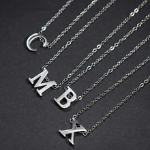 Legenstar Letter Necklaces Pendants Alphabet Silver Color Stainless Steel Choker Initial Necklace Women Girl for Commemoration(China)