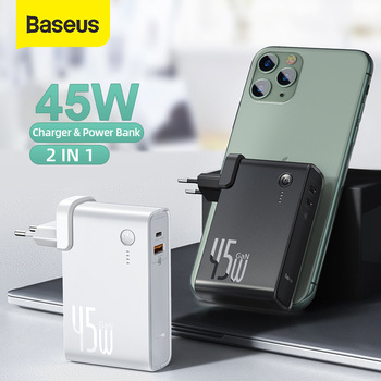 Baseus GaN Power Bank USB Charger 10000mah Powerbank for Xiaomi 45W PD Fast Charging Charger For iPhone QC.4.0 Power Bank