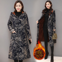 Winter New Style Large Size Retro National Style Printed Cotton Linen Brushed And Thick Frog Hat Coat Women's