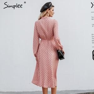 Image 4 - Simplee אלגנטי v צוואר מנוקדת שמלה סקסי צווארון v פנס ורוד שמלת Loose חג סתיו נשים שיק קשת ארוך המפלגה שמלת 2019