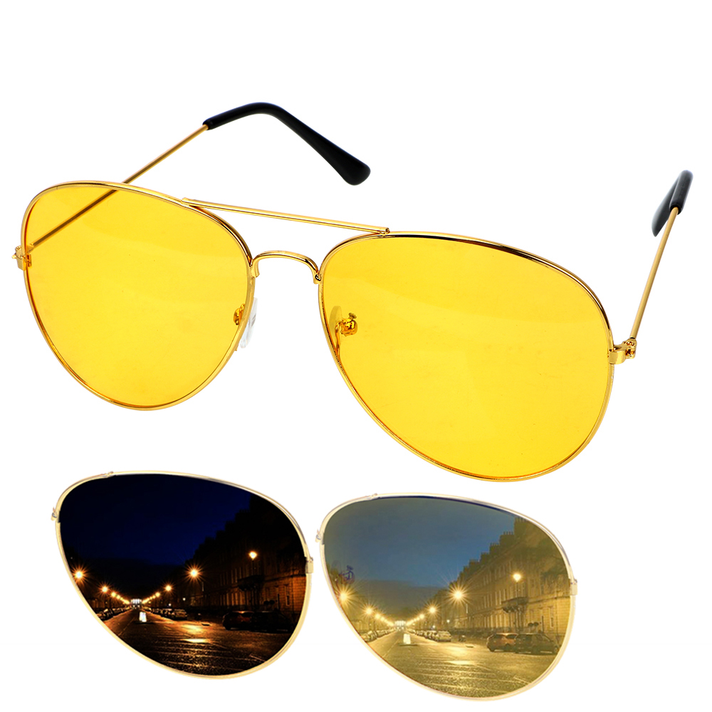 Night Driving HD Anti-Glare Vision Glasses Yellow Driver Sunglasses with Holder