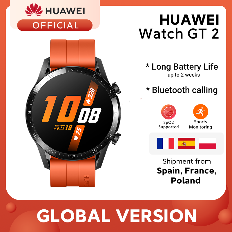 In Stock Original HUAWEI Watch GT 2 GT2 Smart 46MM GPS Bluetooth Phone Call Blood Oxygen Heart Rate For Android iOS