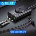 ORICO portátil USB tarjeta de sonido externa micrófono auricular dos en uno con 3 puertos de salida volumen ajustable para Windows/Mac/Linux