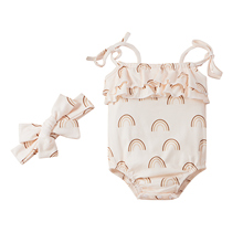 Newborn Toddler Baby Clothes Girl's Lace-Up Suspender Rompers Sweet Printing Ruffles Stitching Jumpsuits With Headband Summer