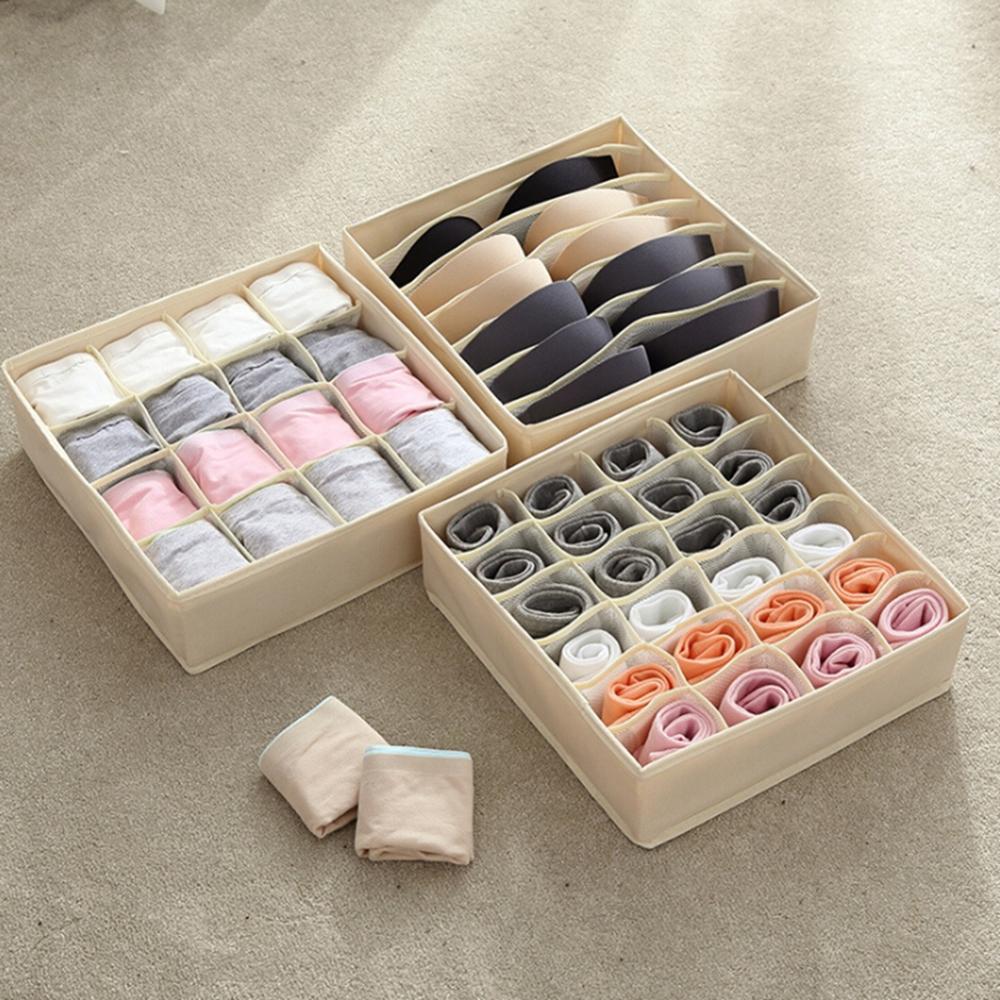 Socks Storage-Boxes Underwear Multi-Grids Foldable High-Elastic Home-Organization Mesh-Cloth