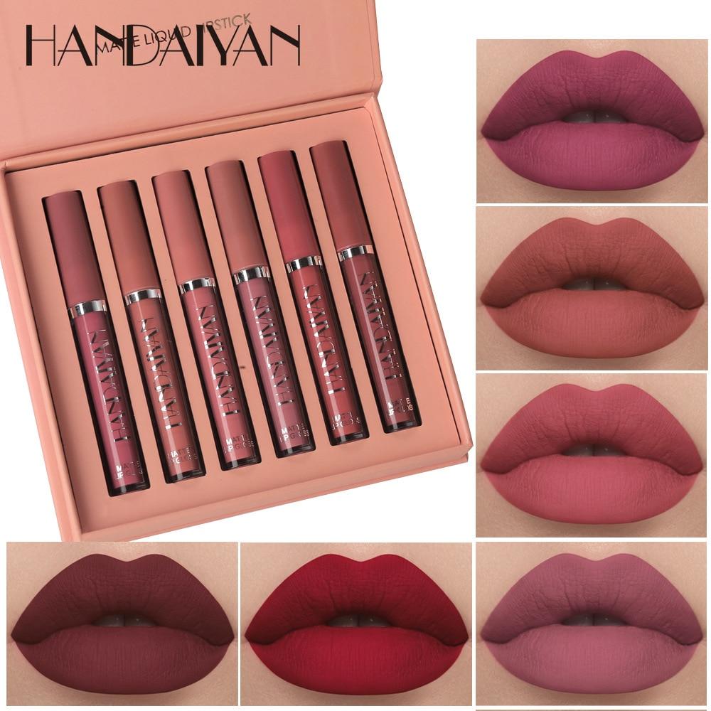 Handaiyan 6-Piece Lip Gloss Set Waterproof Non-Stick Cup Matte Lip Gloss Set Gift Box