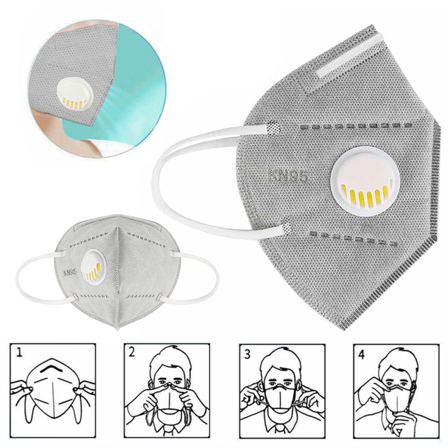 Hot selling 10pcs KN95 Face Masks Dust Respirator Mouth Masks Adaptable Against Pollution Breathable Mask Filter with valve 1