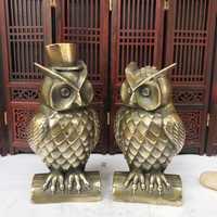 Escultura de buho para decoración del hogar, escultura de bronce de Metal de alta calidad para sala de estar/escritorio, regalo
