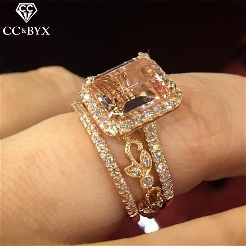 CC Sets Rings For Women Creative Champagne Cubic Zirconia Couple Ring Bridal Wedding Engagement Jewelry Bijoux Femme CC2397