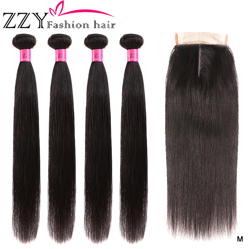 ZZY Fashion Hair  Bundles With Closure Straight Hair Brazilian Human Hair Weave 4 Bundles Non-remy